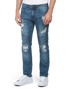 Max X Destructed Moto Denim Jeans