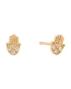 Made In Turkey 22k Gold Plated Brass CZ Hamsa Stud Earrings