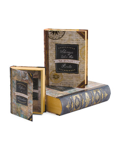 Set Of 3 Vintage Map Book Storage Boxes