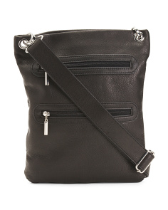 Leather Double Zip Crossbody