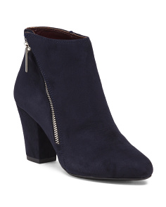 Side Zip Block Heel Booties