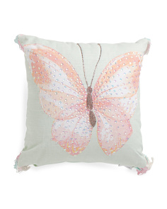 Kids Made In India 16x16 Watercolor Butterfly Pillow