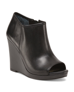 Peep Toe Leather Wedge Booties