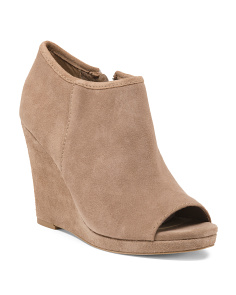 Peep Toe Suede Wedge Booties