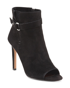 Carolena Suede Peep Toe Booties