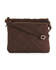 Accordion Woven Leather Crossbody