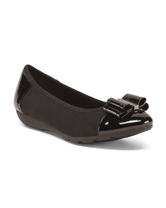 Stretch Ballet Flats With Patent Bow