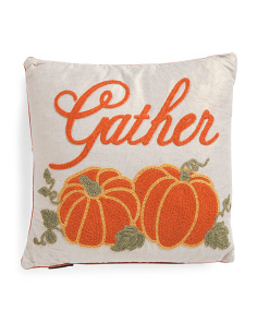 16x16 Embroidered Gather Pillow
