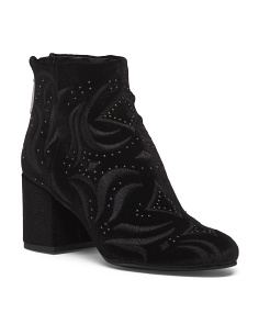 Embroidered Velvet Booties