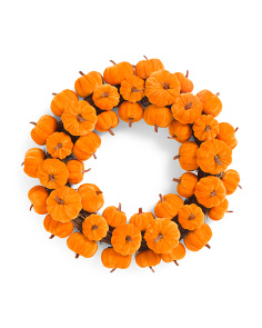 22in Velvet Pumpkin Wreath