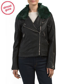 Faux Fur Trim Moto Jacket