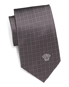 Made In Italy Circle Squares Silk Tie