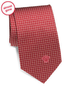 Made In Italy Silk Geo Lines Tie