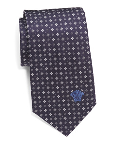 Made In Italy Small Floral Print Silk Tie