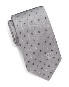 Made In Italy Mini Geo Squares Silk Tie