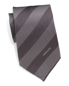 Made In Italy Uniform Striped Silk Tie