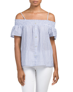 Juniors Off The Shoulder Poplin Top