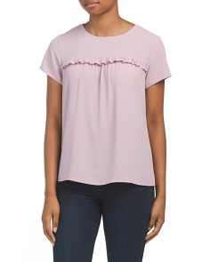 Juniors Ruffled Trim Tee