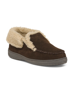 Sherpa Lined Suede Bootie Slippers