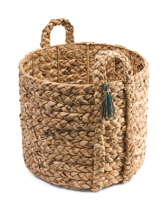 Large Braided Water Hyacinth Basket