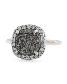 Made In India Sterling Silver Black Druzy And CZ Cuadro Ring