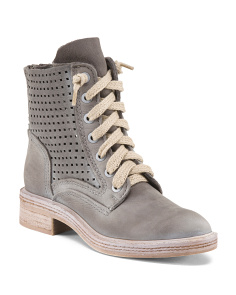 Nubuck Leather Lace Up Perforated Boots
