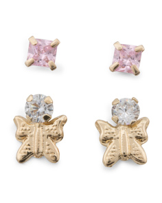 14k Gold Pink Square  And Butterfly Cubic Zirconia Stud Set Earrings
