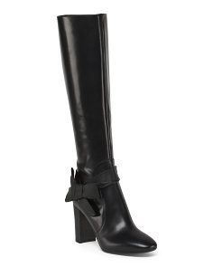 Made In Italy Chunky Heel Leather Boots