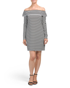 Made In USA Off The Shoulder Striped Dress