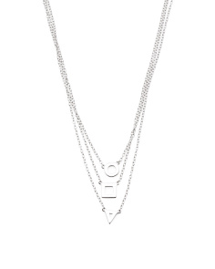 Made In USA Sterling Silver 3 Shape Graduated Necklace