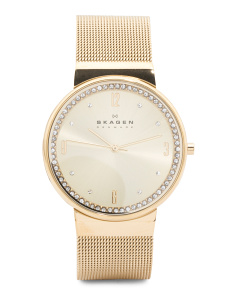 Women's Ancher Crystal Bezel Mesh Strap Watch In Gold Tone