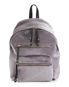 Velvet Backpack With Zippers