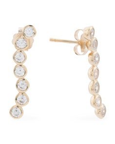 Made In Thailand 14k Gold And Cubic Zirconia Bubble Earrings