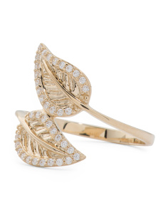 Made In Thailand 14k Gold Pave Cubic Zirconia Leaf Bypass Ring