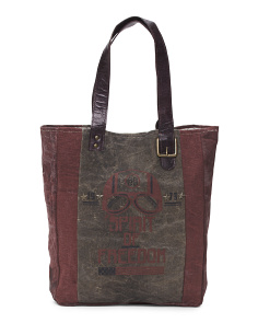 Upcycled Spirit Of Freedom Canvas Tote
