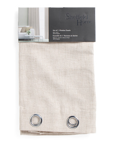 Set Of 2 Faux Linen Curtains