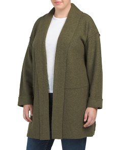 Plus Boiled Wool Long Coat