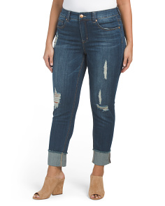 Plus Frayed Wide Cuff Jeans