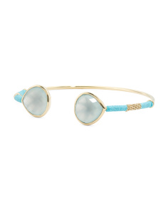 Made In India Gold Plated Brass Chalcedony Open Cuff Bracelet