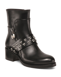 Made In Italy Round Toe Leather Booties