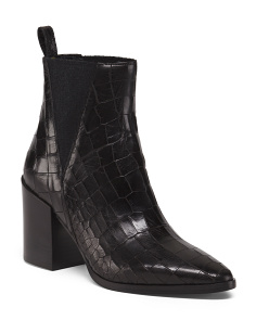Made In Italy Croco Leather Chelsea Boots