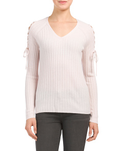Lace Up Sleeve Cashmere Sweater