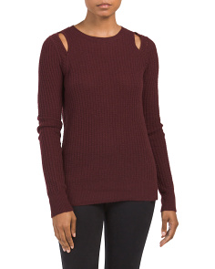 Ribbed Cut Out Cashmere Sweater