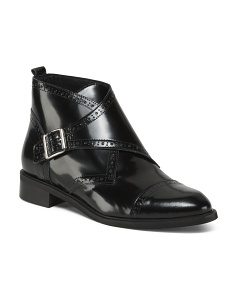 Made In Italy Buckle Leather Booties
