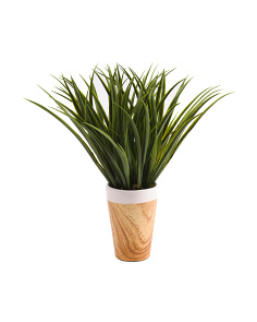 18in Faux Grass In Wood Pot