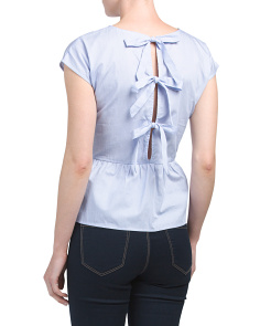 Juniors Tie Back Poplin Top