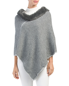 Made In Italy Faux Fur Collar Poncho