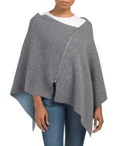 Made In Italy Wool Blend Poncho