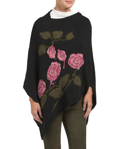 Floral Intarsia Poncho