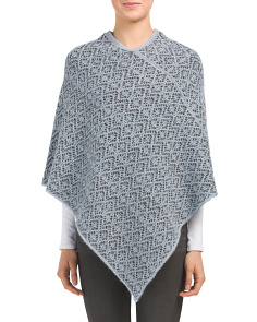 Made In Italy Crochet V-shape Poncho